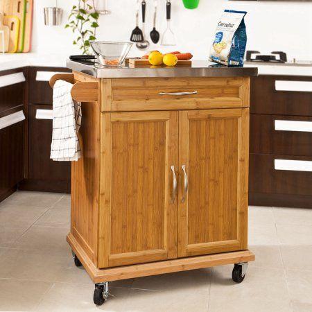 Haotian FKW13-N, Wood Kitchen Cabinet, Kitchen Storage Trolley Cart