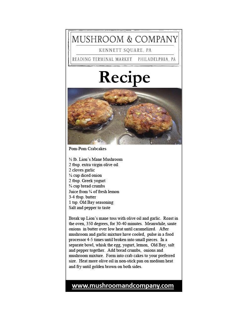 PomPom Crabcakes from Mushroom and Company. Utilizing