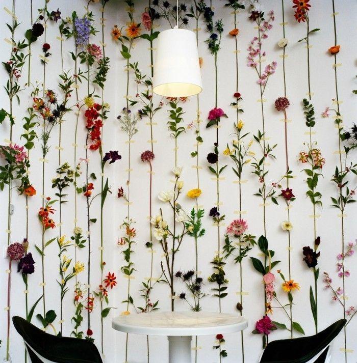 Wohnideen Esszimmer Blumendeko Wanddesign