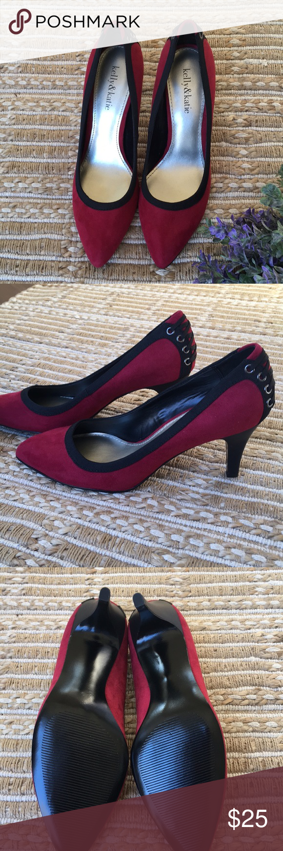 14df94d21b NWOT Kelly & Katie Red Lace Up Heel SZ 7.5 New without tags or box Kelly &  Katie High heels. Beautiful burgundy/red color. Black trim and lace up  detail in ...
