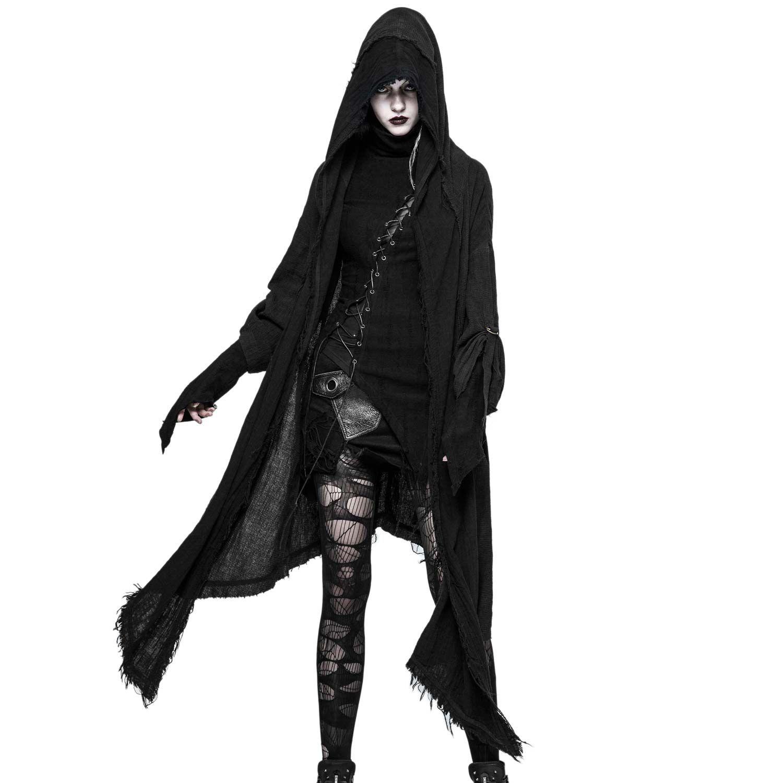 Gothic Frauen Punk Hooded Jacke Mantel Cosplay Schwarz