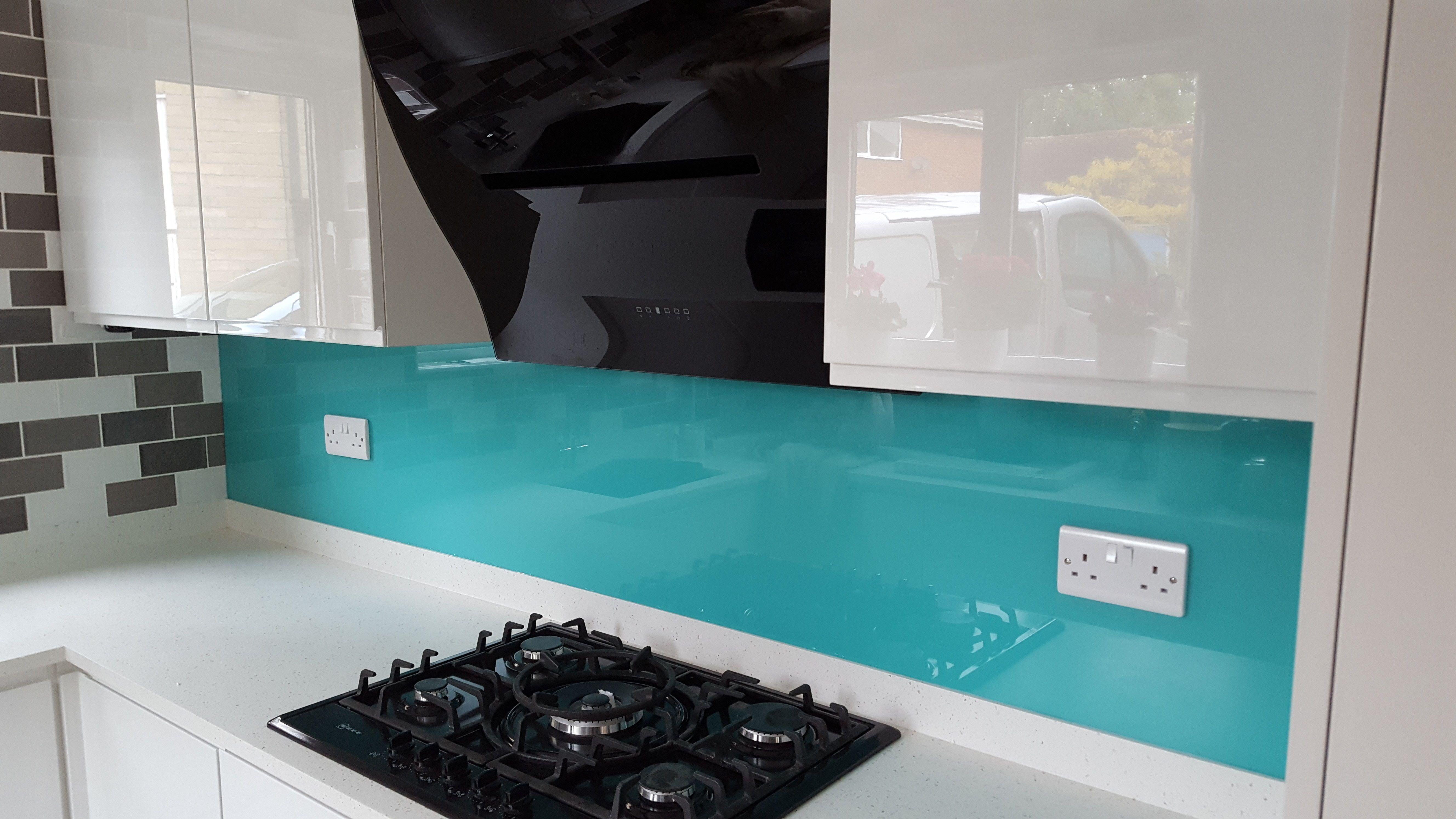 Turquoise painted glass kitchen splashback. | Painted Glass Kitchen ...