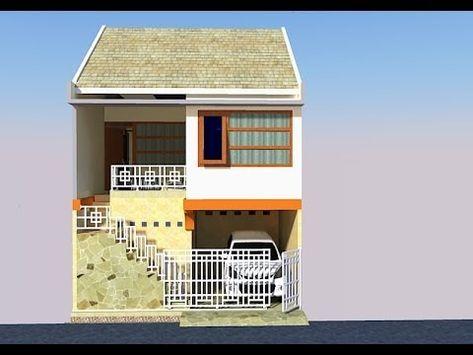 desain rumah 5x10m dengan roof garden dan carport