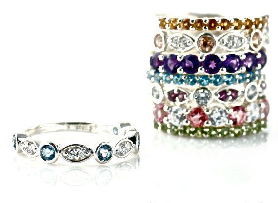 e55e81eddef14 Aquamarine Ring Aqua Anniversary Band Wedding Ring Mothers Ring 14K ...