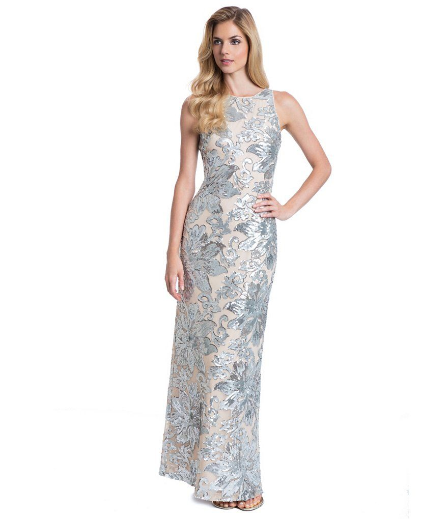 Belle Badgley Mischka Sequin Floral Melanie Gown Dillards Mother