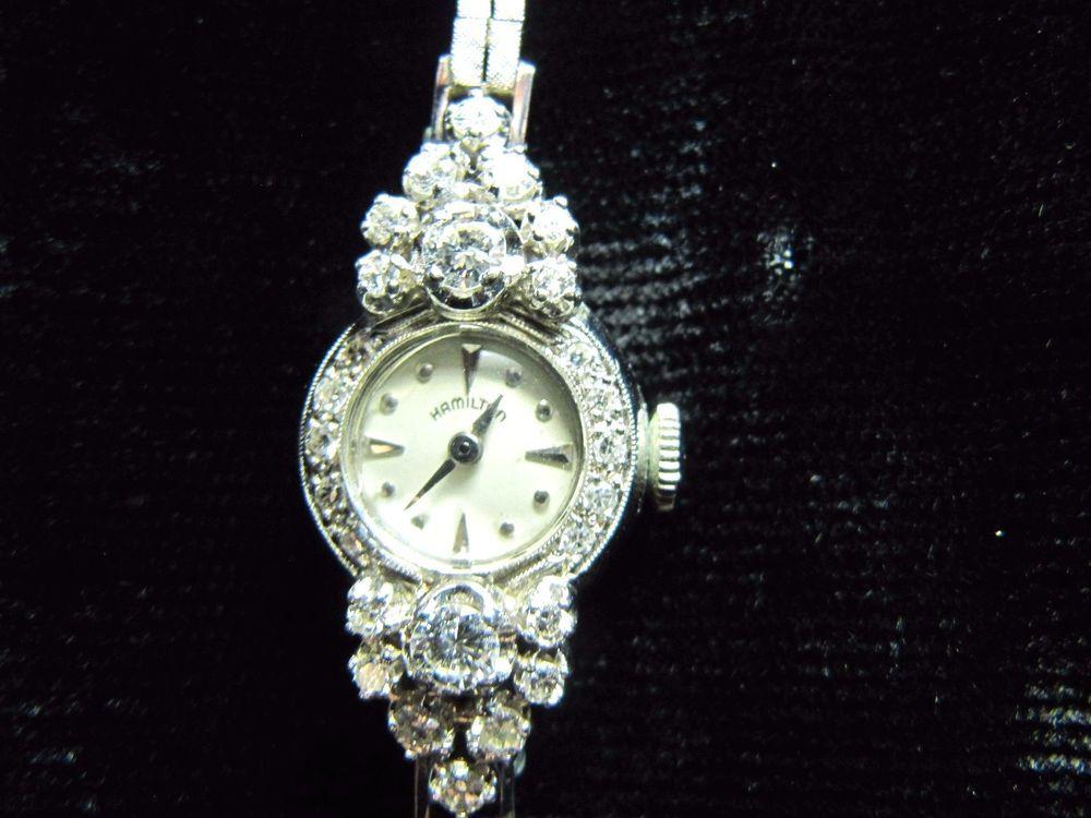 Beautiful Vintage Hamilton Ladies Watch 14k White Gold and .8ct Diamonds  FI09