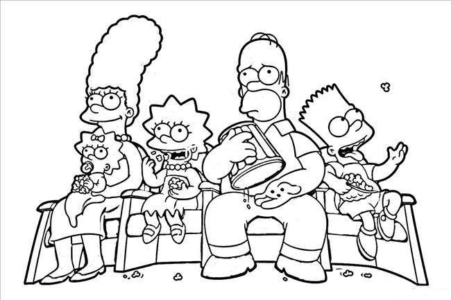 the simpsons family coloring pages