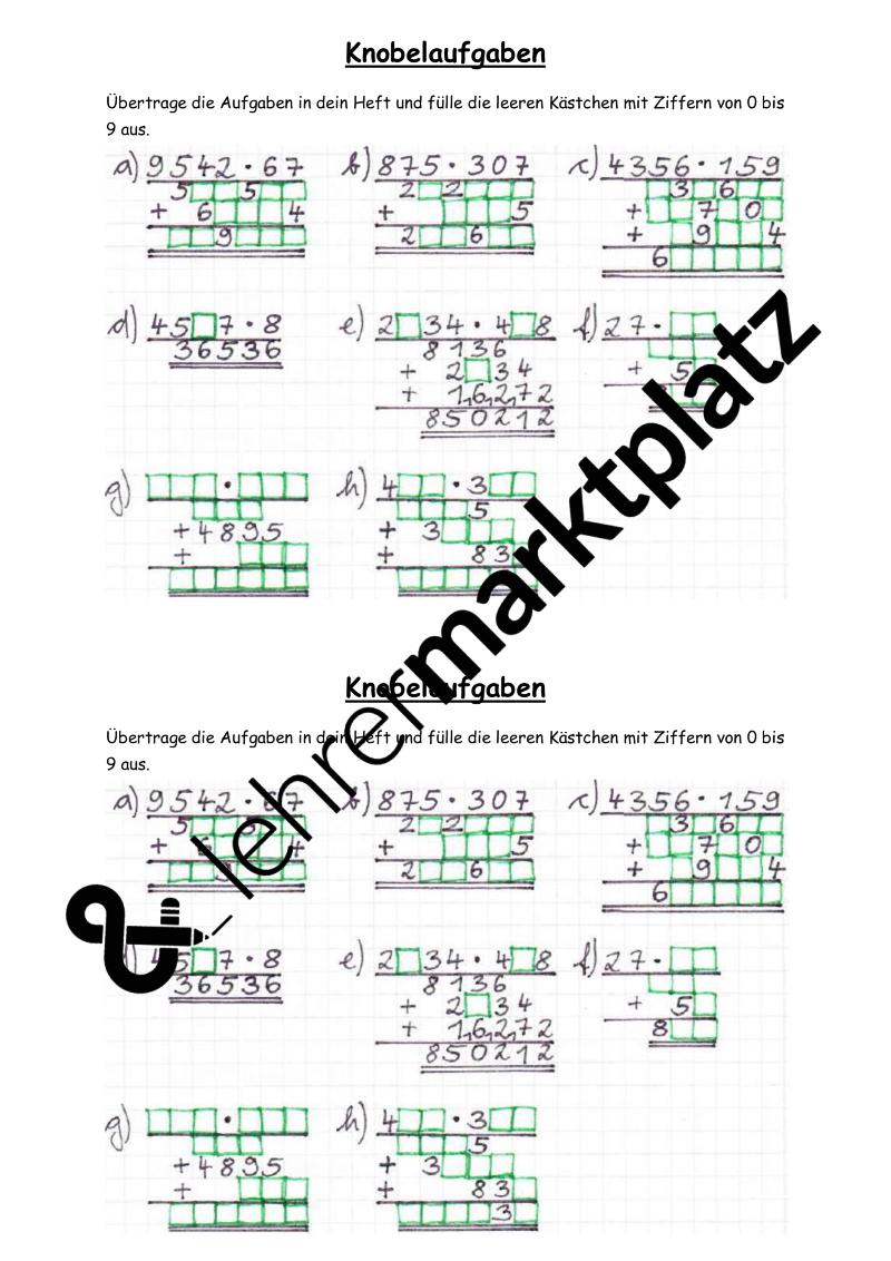 Knobelaufgaben zur schriftlichen Multiplikation inkl. Lösung ...