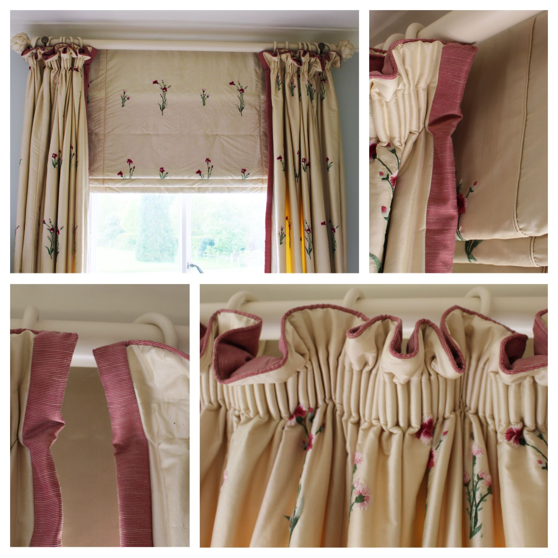 Gathered curtains - These Beautiful Embroidered Silk Hand Gathered Curtains Were Bordered On Three Sides Top