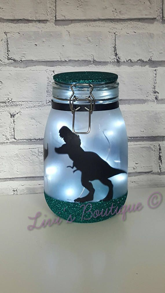 Dinosaur Night Light T Rex Lamp Large Fairy Light Up Jar