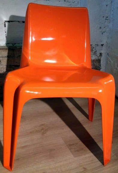 Chaises Empilables Plastique Orange Helmut Batzner Bofinger Annees 60 70 Decor Furniture Home