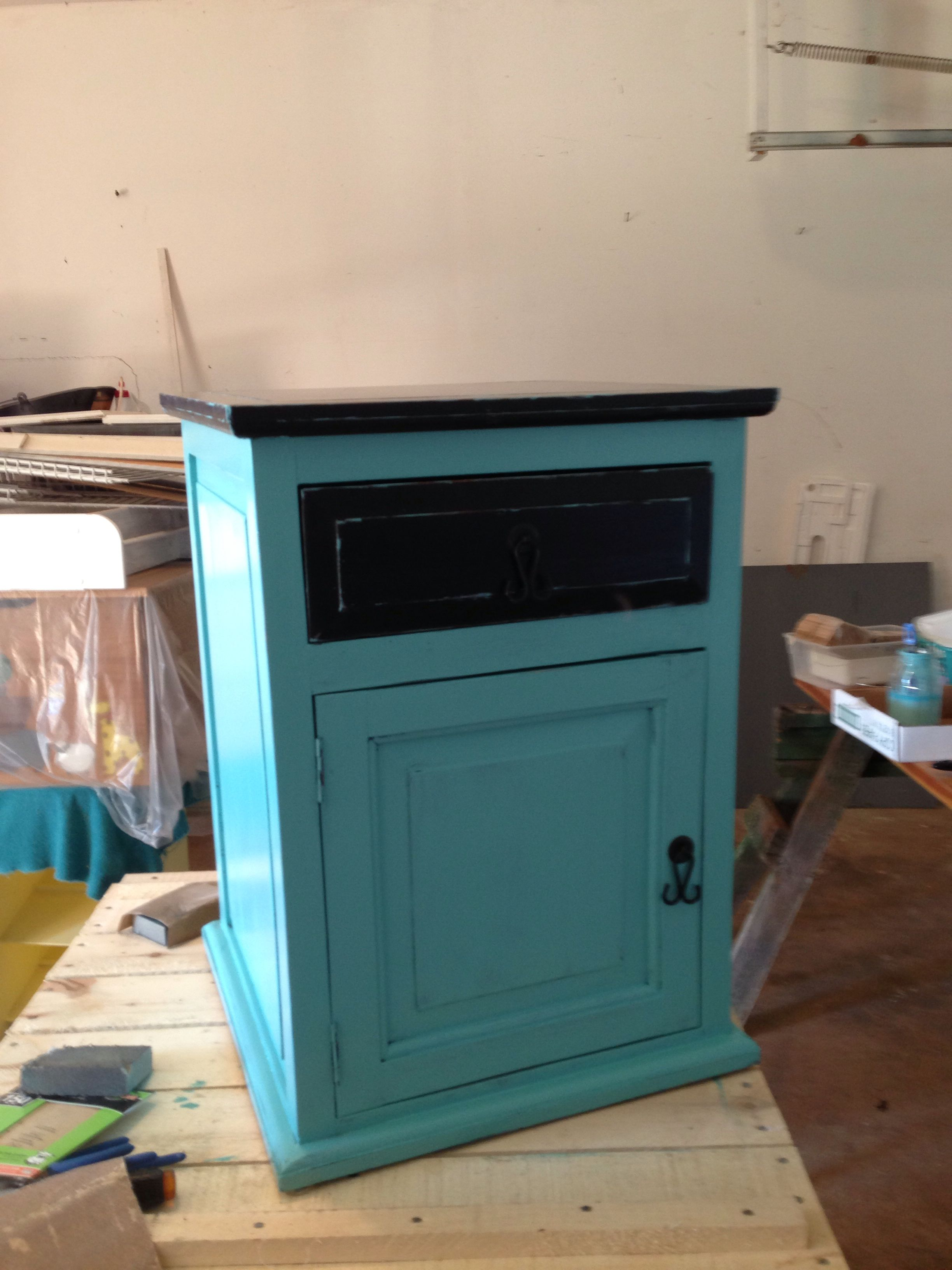Charmant Another Hobby Lobby Black End Table With One Drawer And Door. Painted  Turquoise Leaving Top And Drawer Original Black. Distressed Showing Black  Paint On ...
