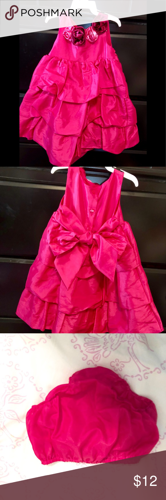 54f64a2dc Hot pink ruffled dress for infants 18 mos 18 months Hot pink dress ...