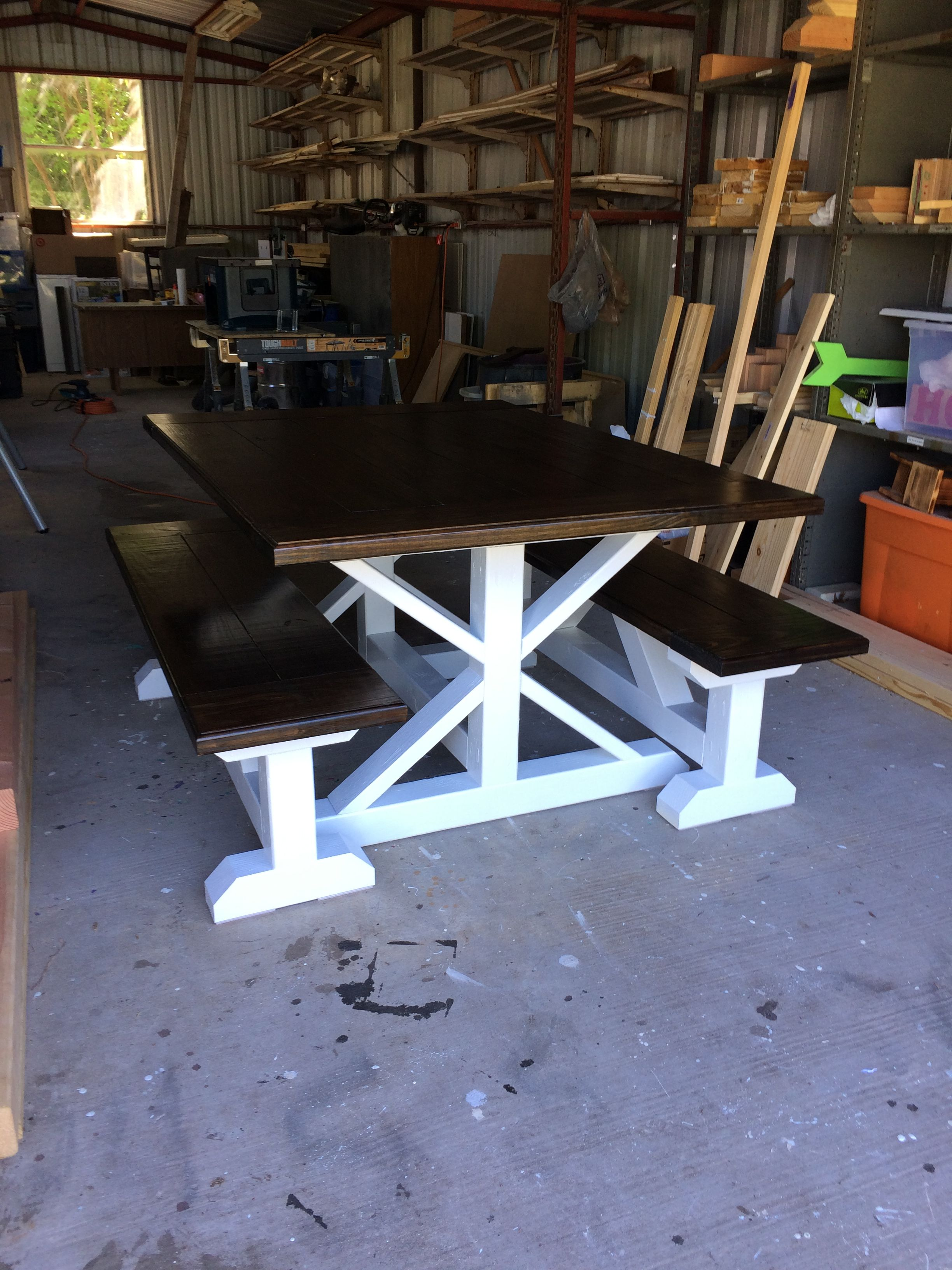 Farmhouse Table with Bench Seating Farmhouse table with