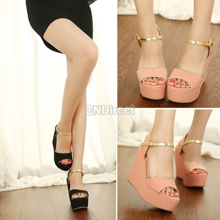 $12.00 Women's High Heel Wedges Platform Sandal Shoes With Buckle