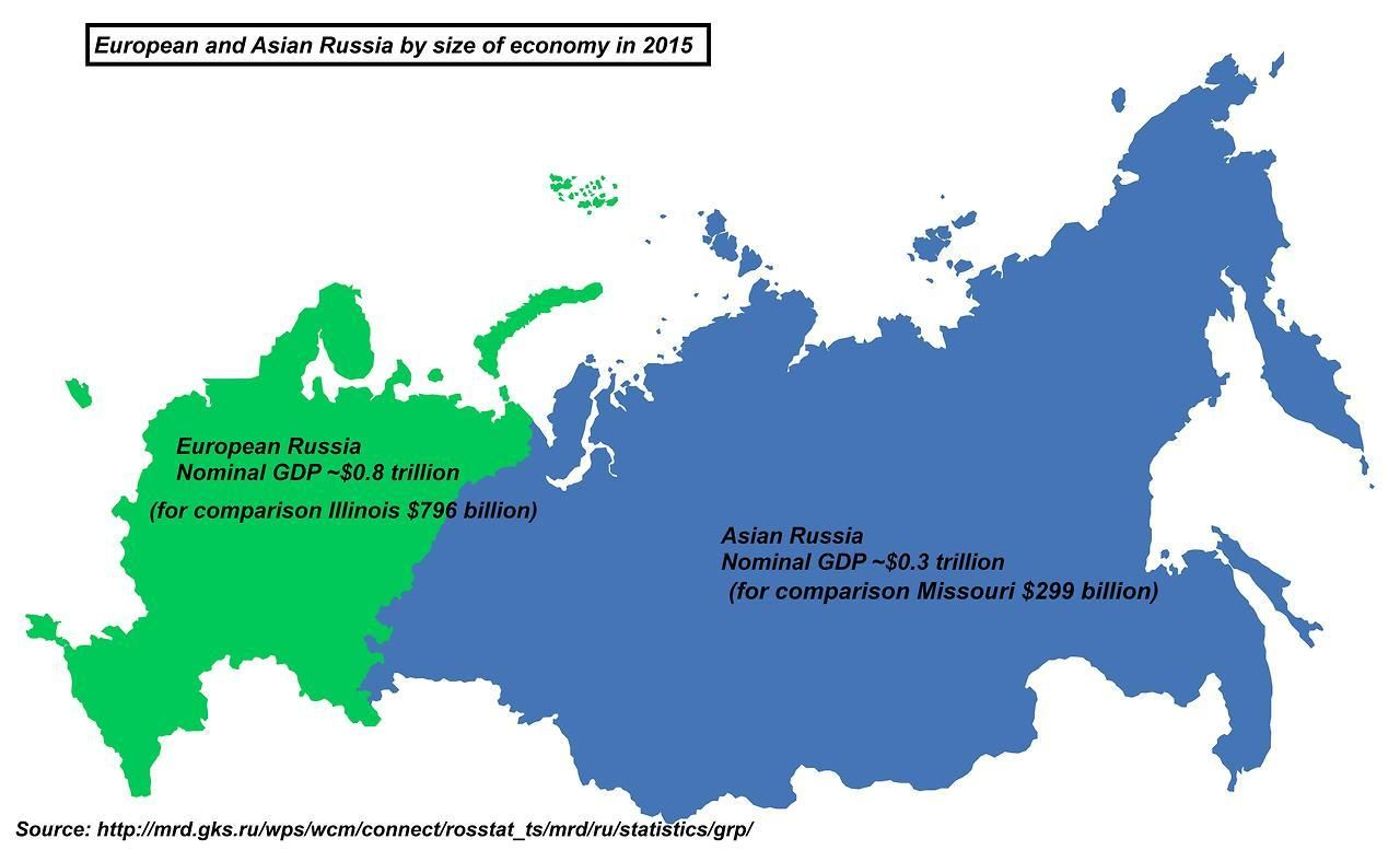 European And Asian Russia By Size Of Economy In 2015 China Map Map Geography