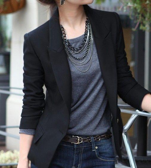 Blazer negro casual mujer