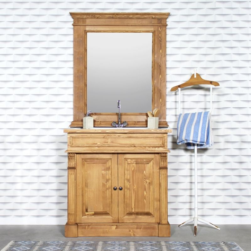 Meuble salle de bain bois massif ciré miel 1 vasque, 2 portes 1 étagère