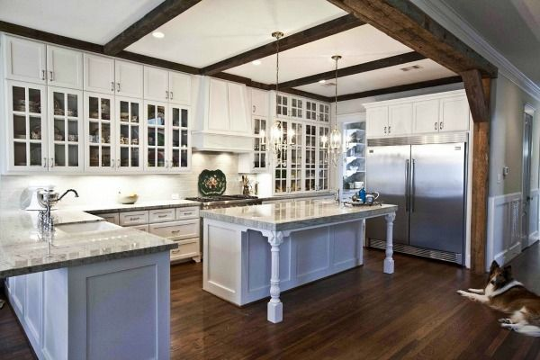 Faux Beam Over Kitchen Bulkhead Wood Beam Inspiration So Much Better With Age Country Style Kitchen French Country Kitchens Rustic Kitchen Design