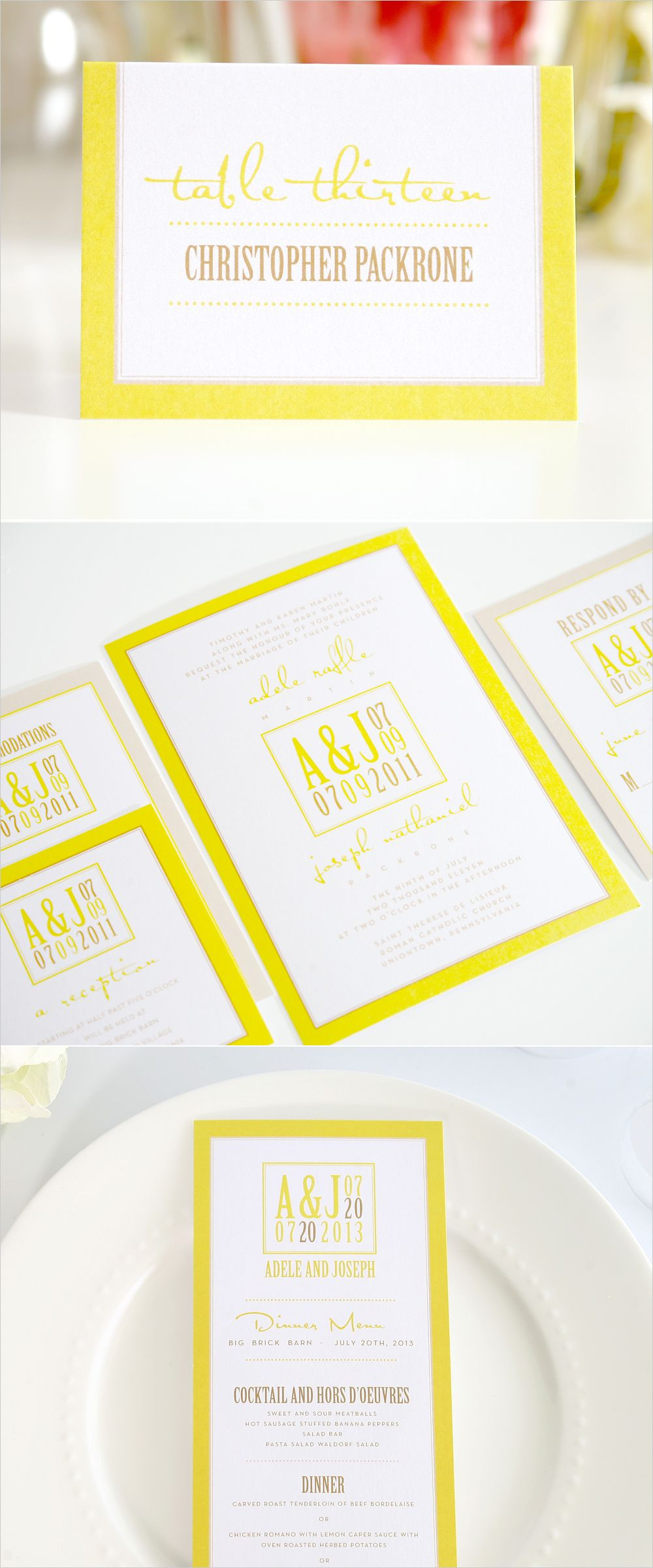 Modern Logo Wedding Invitations | Yellow wedding invitations, Modern ...