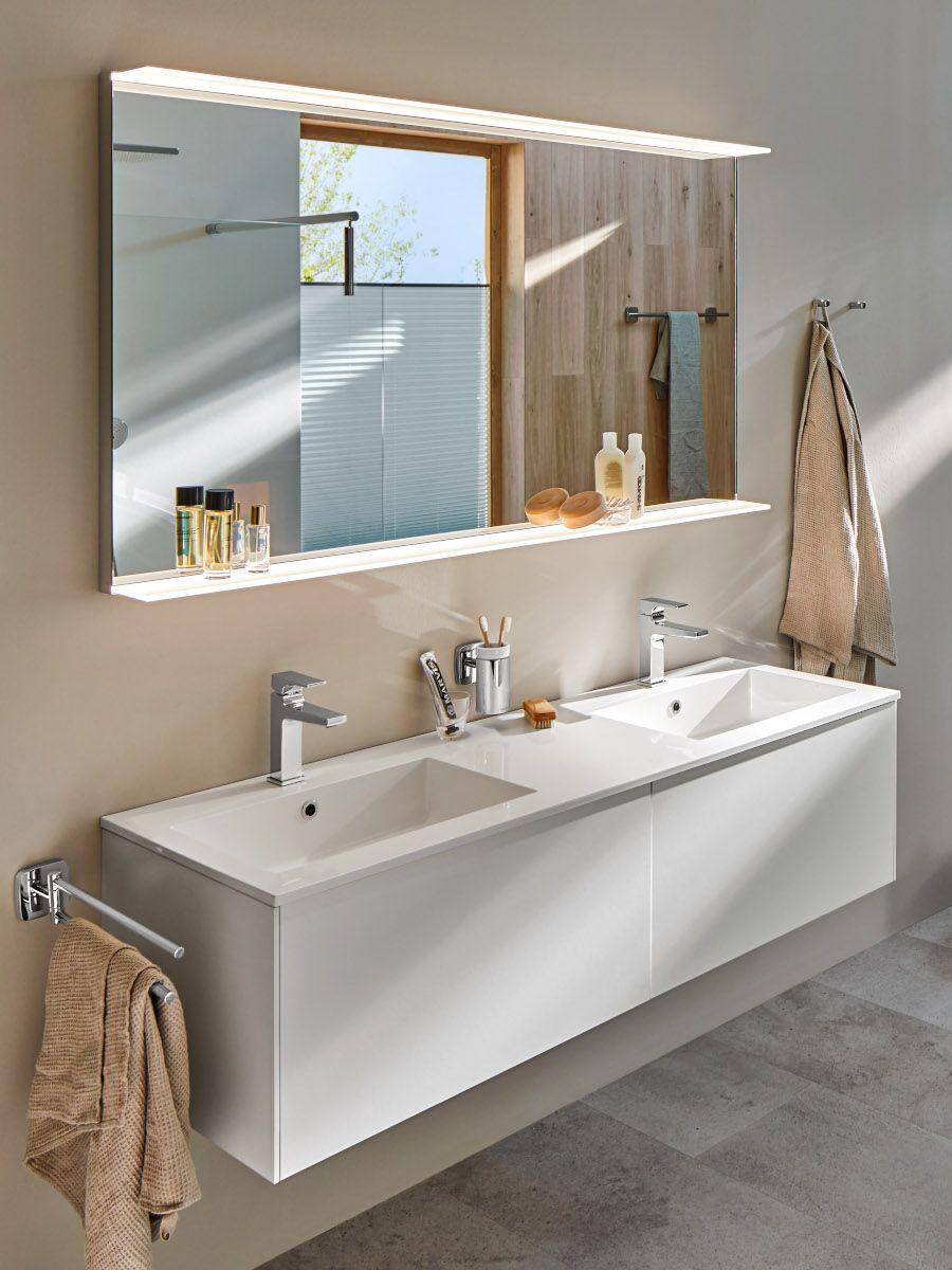 SLOT Waschtisch Waschtischunterschrank Keramikbecken Badezimmer Dekor Weiß Glanz