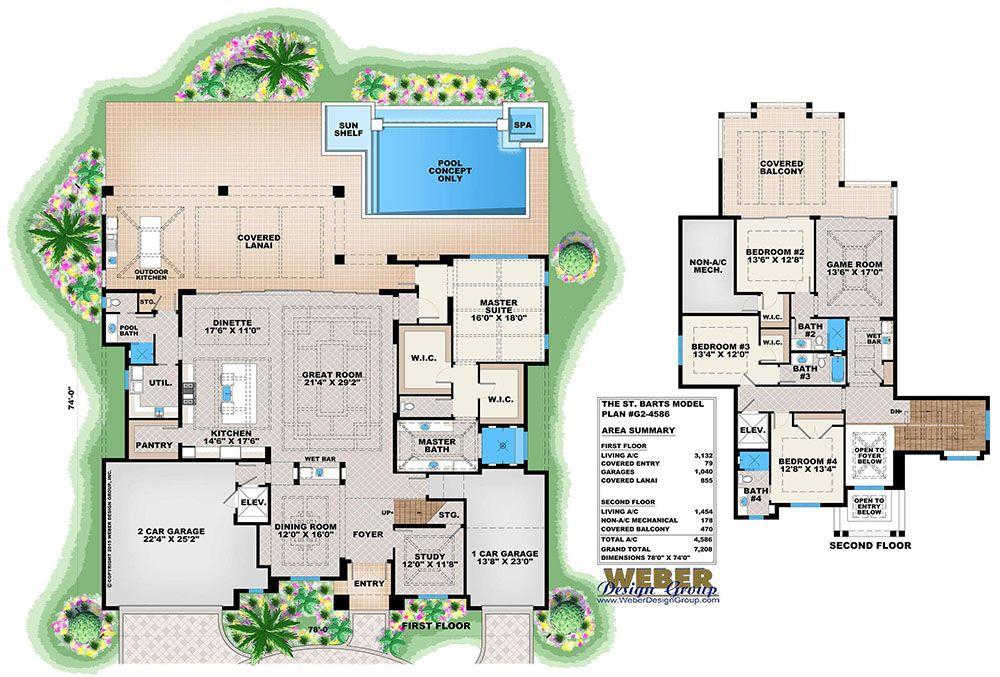 Tropical House Plan Caribbean Island Beach Style Home Floor Plan Beach House Floor Plans House Floor Plans House Plans