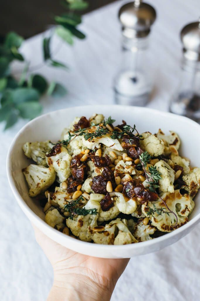 Za'atar Roasted Cauliflower with Dates, Pine Nuts and Thyme | Downshiftology