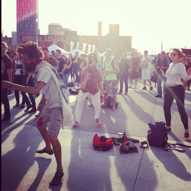 Dancers in the sun, East Village, during Sled Island ...