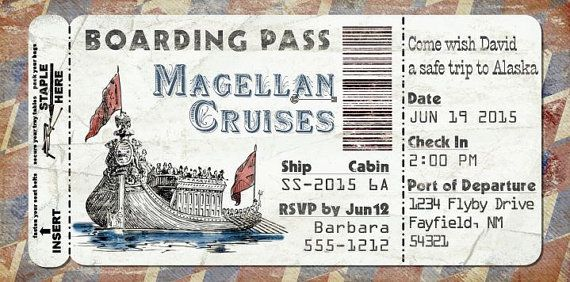 Cruise Ship Boarding Pass Invitation for Wedding, Birthday, Save The