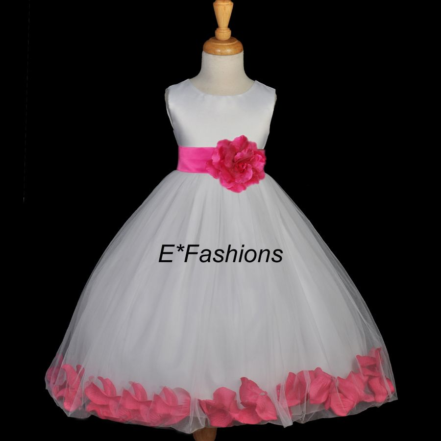41ae4e1bffd Color  White Dress With Fuchsia Sash. Thinking this is the flower girl dress .