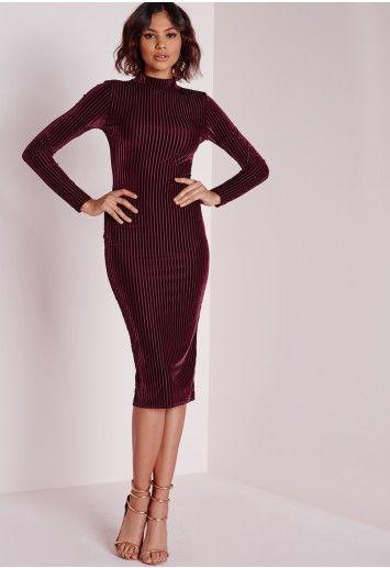 d58413607508 Velvet Ribbed Long Sleeve Midi Dress Burgundy - Dresses - Middi Dresses -  Velvet Dresses - Missguided