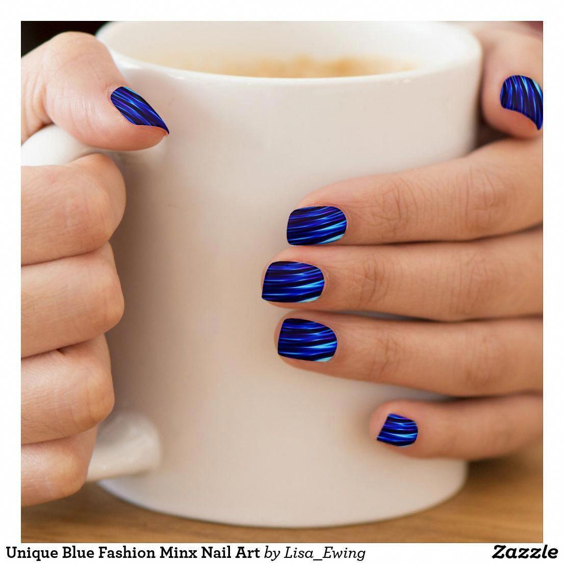 Unique Blue Fashion Minx Nail Art | Zazzle.com