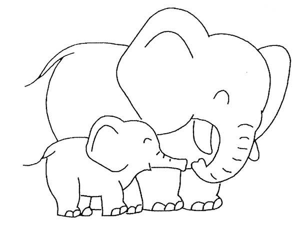 Baby Elephant Love Her Mother Coloring Page | Elephants ...