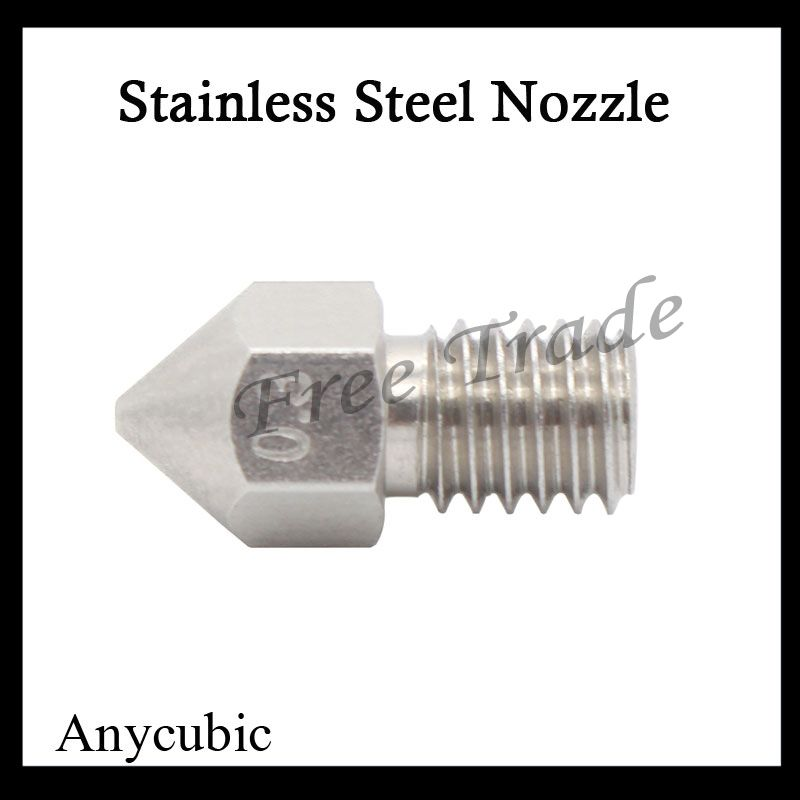 $1.10 (Buy here: http://appdeal.ru/3wtr ) 1pcs Stainless steel Nozzle 0.3mm 0.4mm 0.5mm M6 Screw thread For 1.75mm 3mm Filament High Quality For 3D Printer Accessories for just $1.10