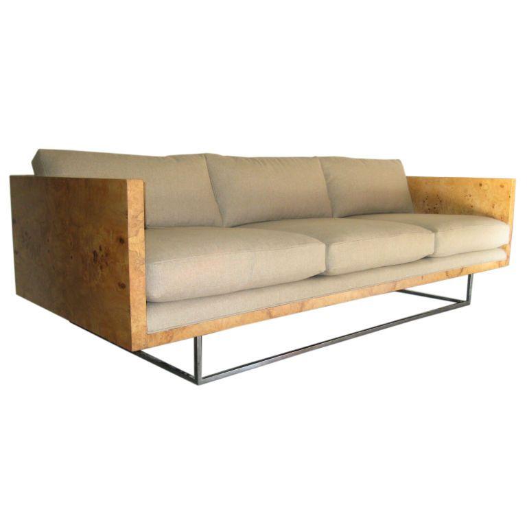 Burled Sofa By Milo Baughman USA 1960s Square chrome base