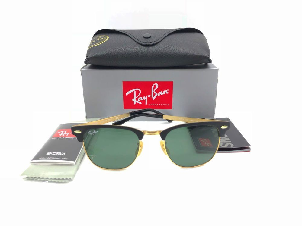 a78025c2fec (ebay link) GREAT AUTHENTIC NEW RAY BAN RB 3716 187 CLUBMASTER METAL BLACK  GOLD 51MM LENS  fashion  clothing  shoes  accessories   unisexclothingshoesaccs   ...