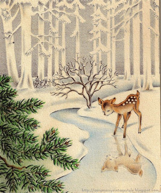 image detail for very merry vintage syle vintage christmas card vintage deer in snow