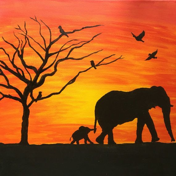 Elephant Sunset Painting Canvas Decor Animals Silhouette ...