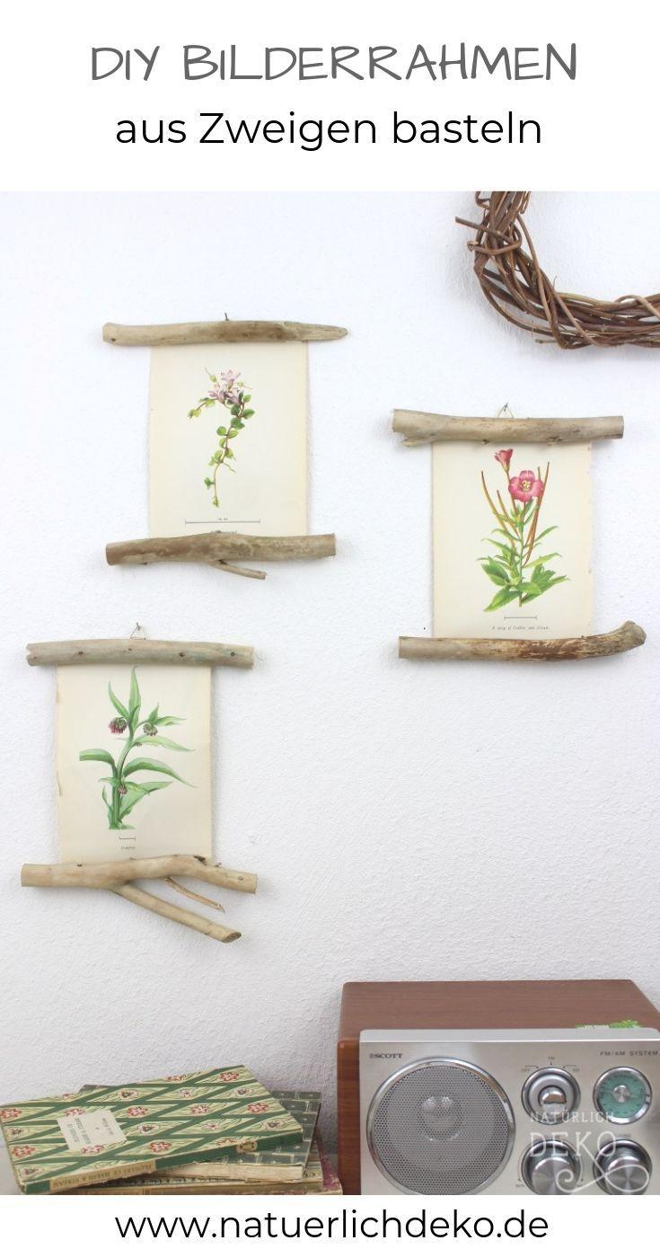 DIY Bilderrahmen aus Zweigen basteln #wanddekoselbermachen