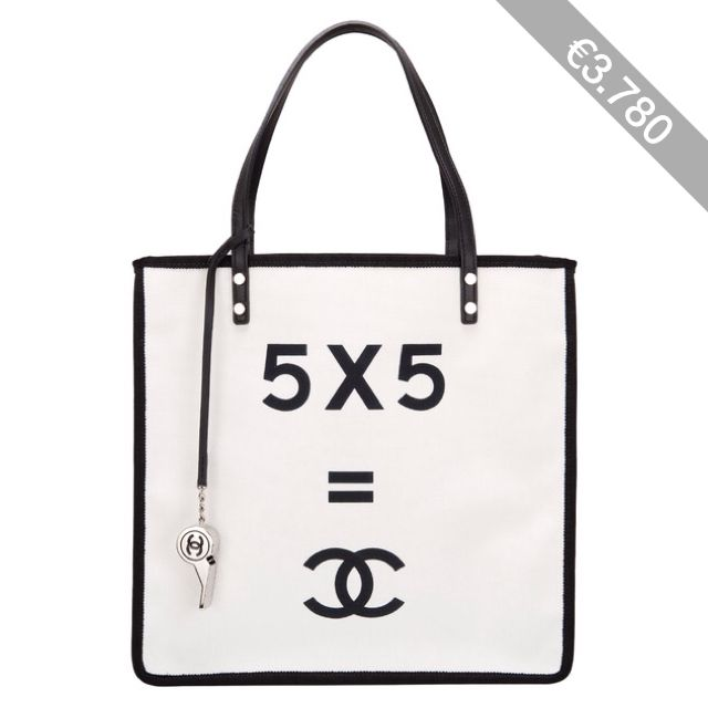 """Pre-Owned Chanel Demonstrate """"""""5 x 5 = CC"""""""" Small Shopping Tote"""