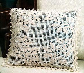 Almofadas Quadradas De Croche File Decoracao De Croche
