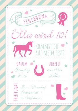 Einladung Zum Pferde Kindergeburtstag Für Mädchen