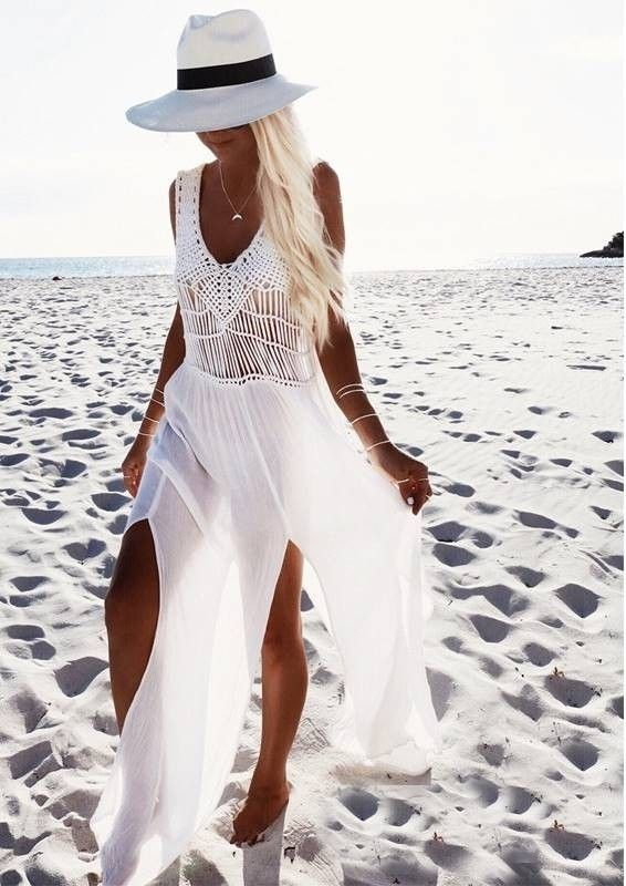 Pool Party in Vegas Crochet Beach Cover Up Long White Beach Dress 87aa4ba40ae4