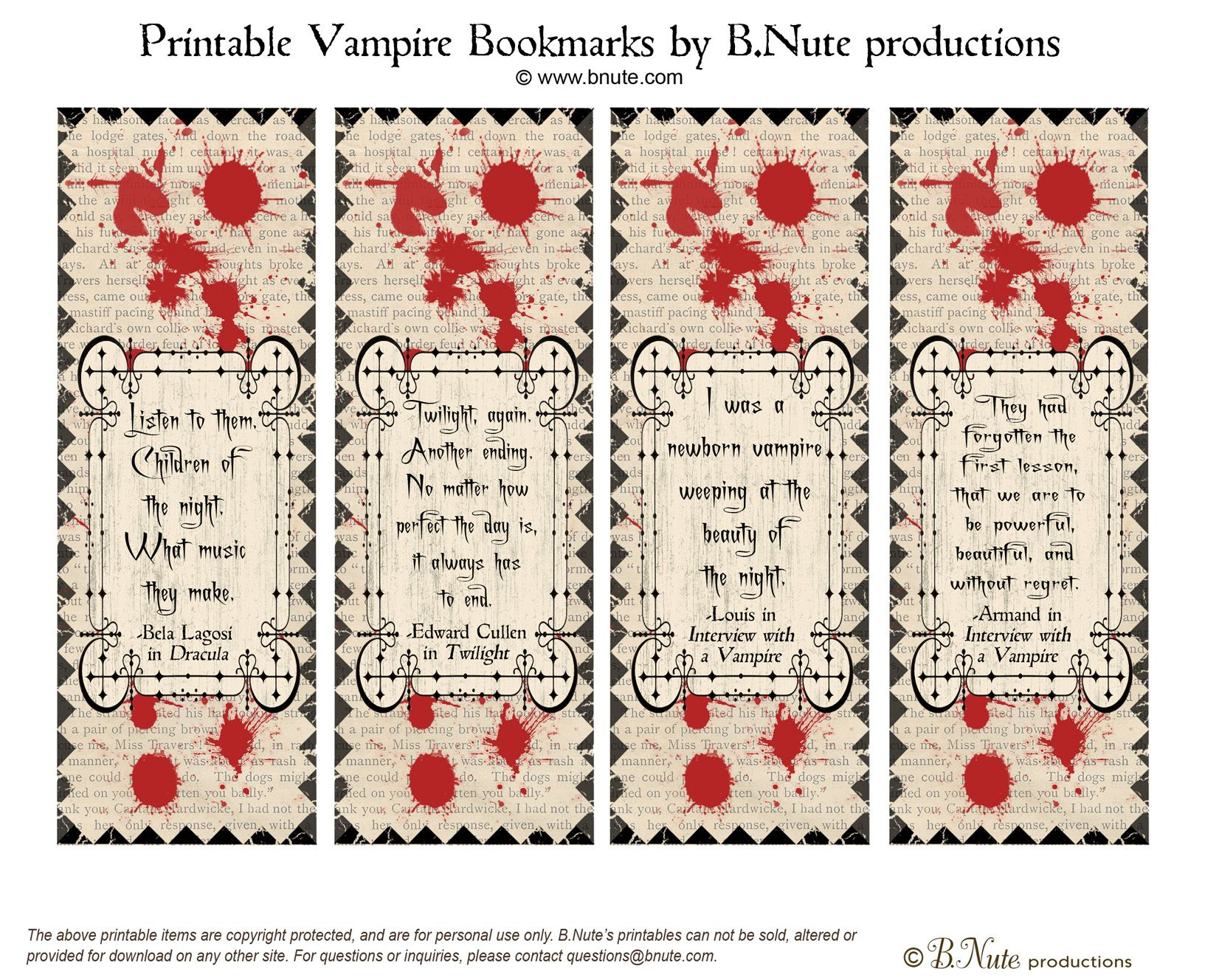 Free Printable Vampire Bookmarks | Blood Related | Pinterest