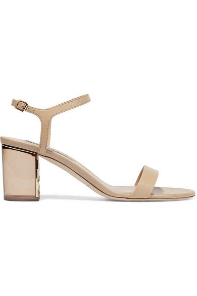Perspex heel measures approximately 70mm  3 inches Sand leather  Buckle-fastening ankle strap Made in Italy