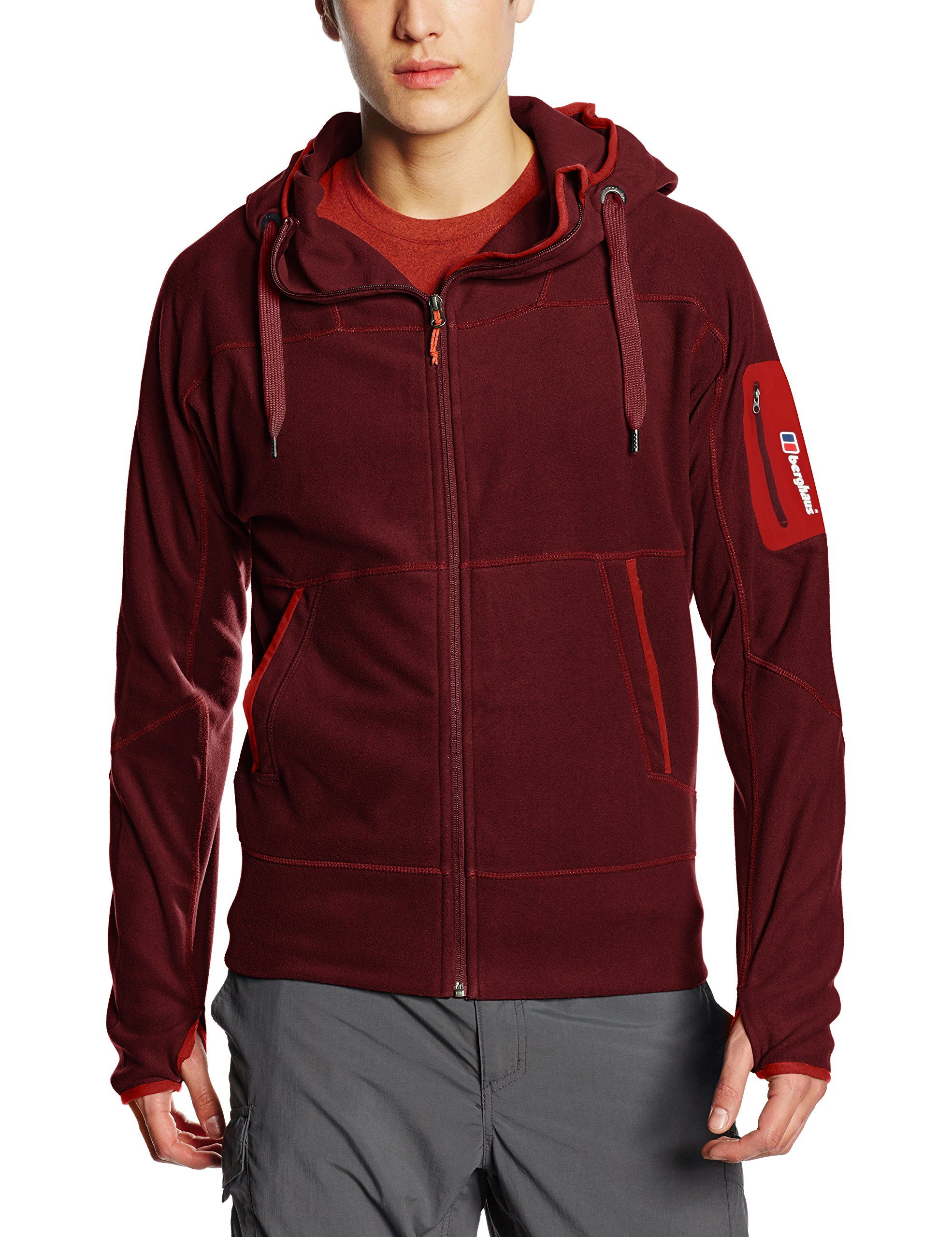 Berghaus mens berghaus mens verdon hoody full zip fleece jacket red