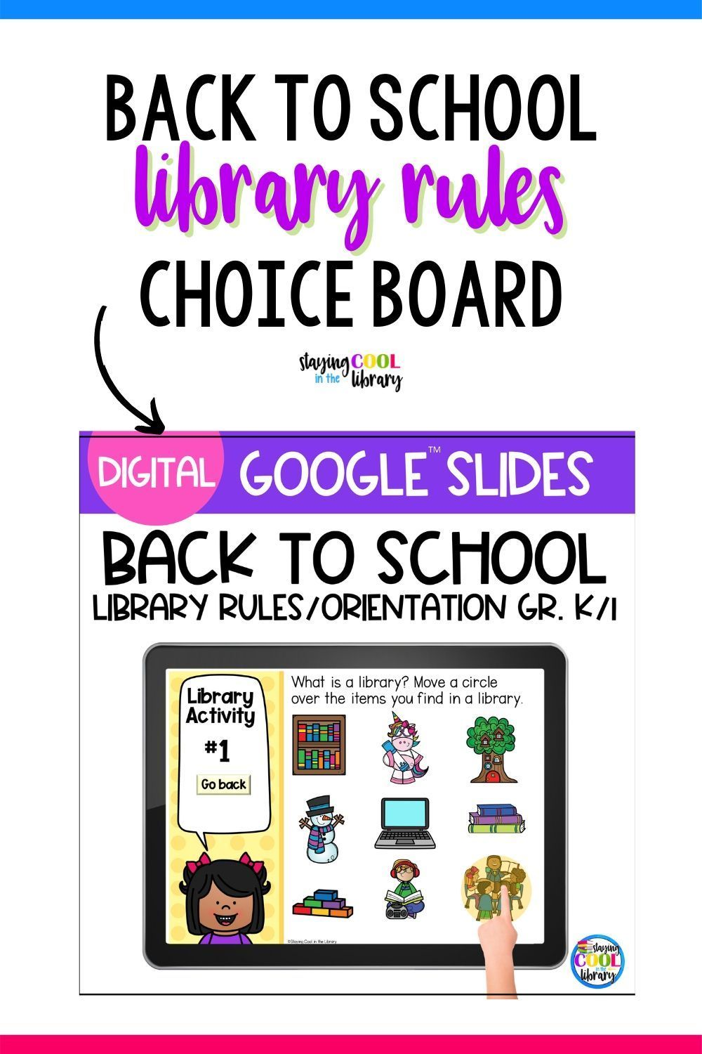 Library Rules Choice Board Google Slides Distance