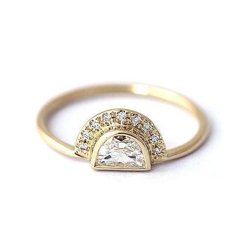 0.25 ct. tw. Half Moon Cubic Zirconia engagement Ring In 14k Yellow Gold Plated…