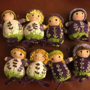 Lavender Sachet Dolls Knitting pattern by Dollytime #knitteddolls