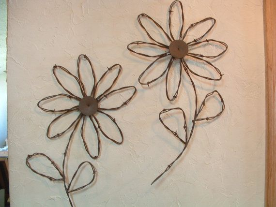 Barbed Wire Art Handcrafted | Rustic Western Rusty Barbed Wire Sunflower Wall Decor Set of 2 Flowers & Rustic Western Rusty Barbed Wire Sunflower Wall Decor Set of 2 ...